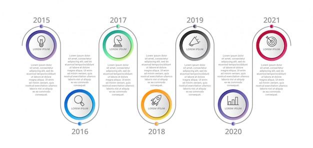 Modelo de cronograma infográfico com opções de ícones ou etapas