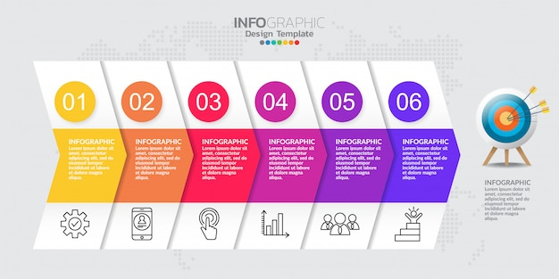 Modelo de cronograma infográfico com seis etapas