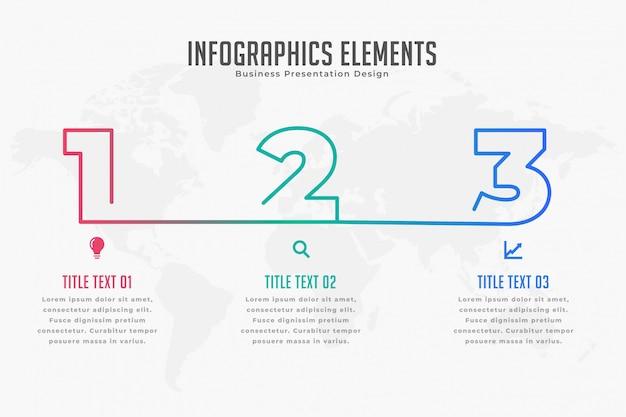 Modelo de cronograma infográfico de três etapas