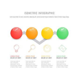 Modelo de cronograma infográfico isométrica com elementos redondos 3d realistas.