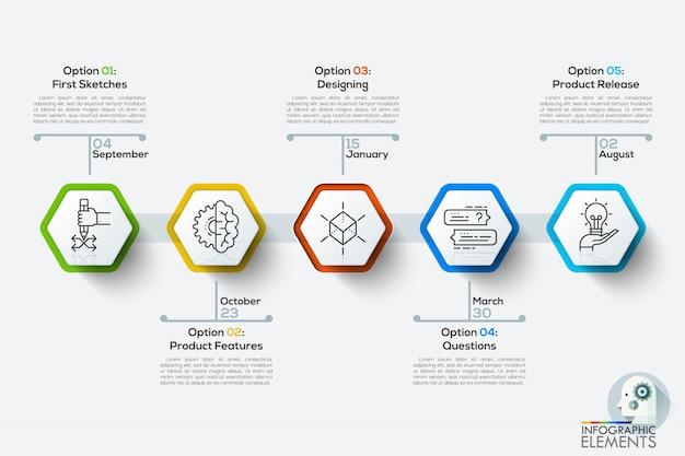 Modelo de cronograma infográficos modernos com 5 polígonos brancos.
