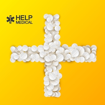 Modelo de cuidados médicos brilhante com comprimidos de remédios brancos e pílulas em forma de cruz na ilustração laranja