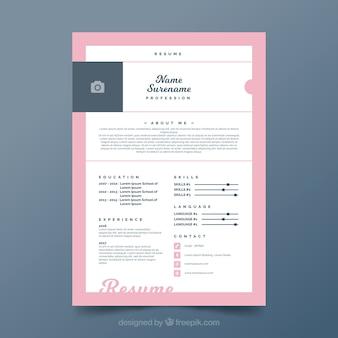Modelo de currículo bonito com quadro cor-de-rosa