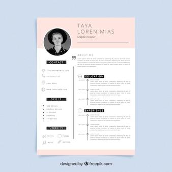 Modelo de currículo com estilo minimalista