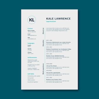 Modelo de currículo de lei de assistente jurídico simples e moderno