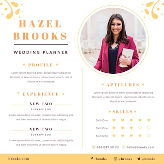 Modelo de currículo de planejador de casamento com foto