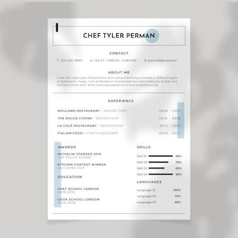 Modelo de currículo de restaurante chef minimalista geométrico