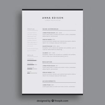 Modelo de currículo em preto e branco
