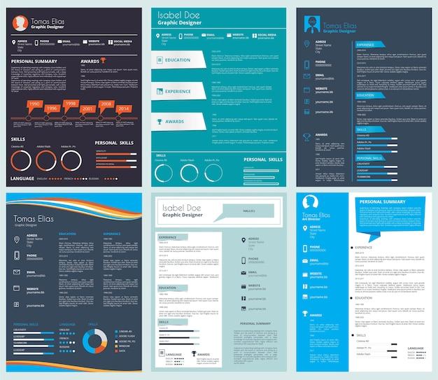 Modelo de currículo empresarial, curriculum vitae. ilustração do conjunto de documentos de currículo