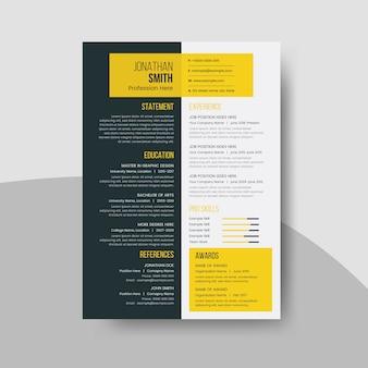 Modelo de currículo limpo com elementos de design escuro e amarelo