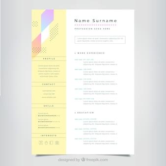 Modelo de currículo minimalista com estilo colorido
