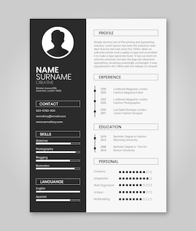 Modelo de currículo preto e branco minimalista