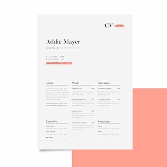 Modelo de currículo profissional minimalista