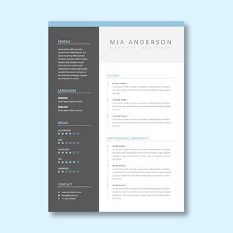Modelo de curriculum vitae cinza minimalista