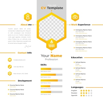 Modelo de curriculum vitae online com design amarelo