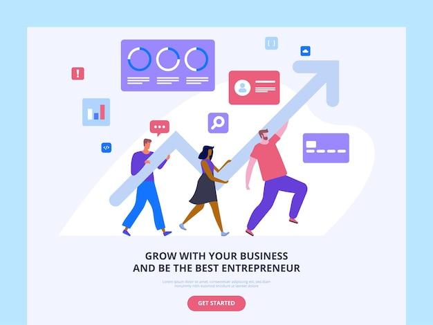 Modelo de cursos de desenvolvimento de negócios. escola de empreendedorismo assistência para startups de crescimento do lucro