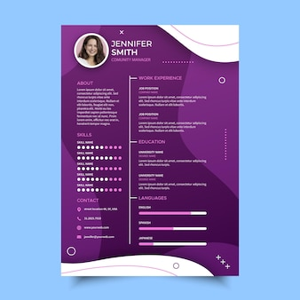Modelo de cv online para serviços empresariais
