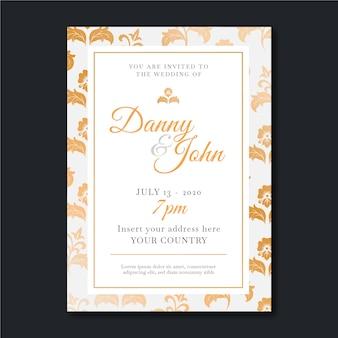 Modelo de damasco elegante de convite de casamento