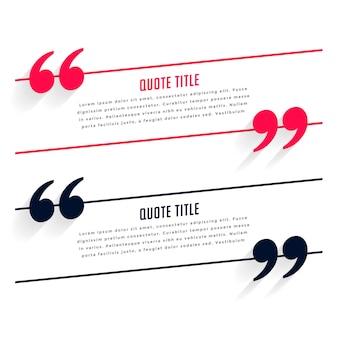 Modelo de depoimento ou citações em duas cores