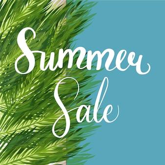 Modelo de desconto de venda de verão sazonal com planta de selva exótica.
