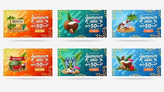 Modelo de desconto de verão laranja, azul e verde com formas abstratas líquidas, guirlandas de ilustrações de quadro e verão
