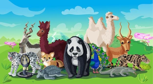 Modelo de desenho animado de animais asiáticos