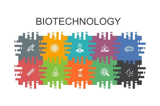 Modelo de desenho animado de biotecnologia com elementos planos. contém ícones como dna, ciência, bioengenharia, biologia