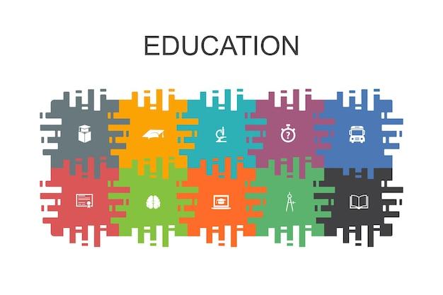 Modelo de desenho animado de educação com elementos planos. contém ícones como graduação, microscópio, teste, ônibus escolar
