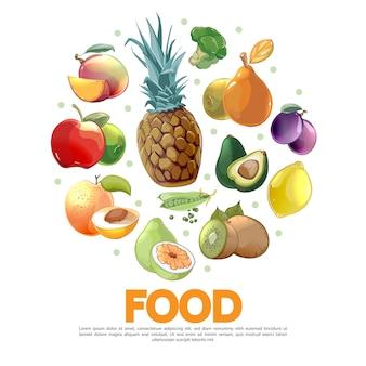 Modelo de desenho animado de frutas e vegetais