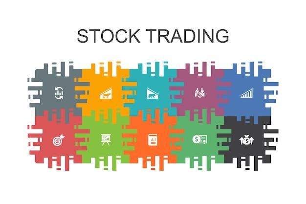 Modelo de desenho animado de negociação de ações com elementos planos. contém ícones como mercado em alta, mercado em baixa, relatório anual, alvo