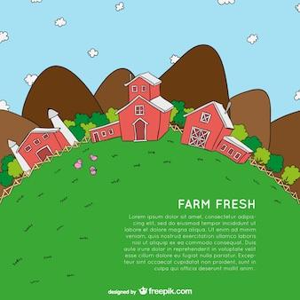 Modelo de desenho animado fazenda