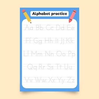 Modelo de desenho de alfabeto minimalista com lápis