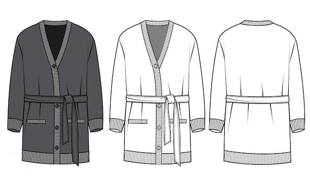Modelo de desenho de moda casaco de malha