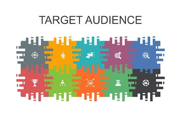 Modelo de desenho de público-alvo com elementos planos. contém ícones como consumidor, dados demográficos, nicho, promoção