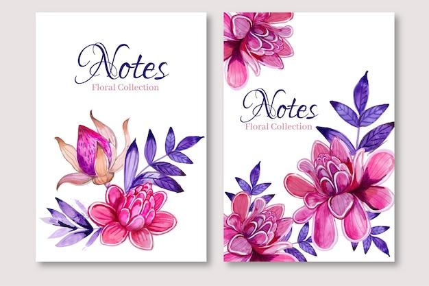 Modelo de desenho floral em aquarela de notas