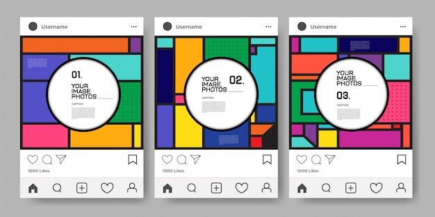 Modelo de desenho geométrico colorido de vetor para instagram feed