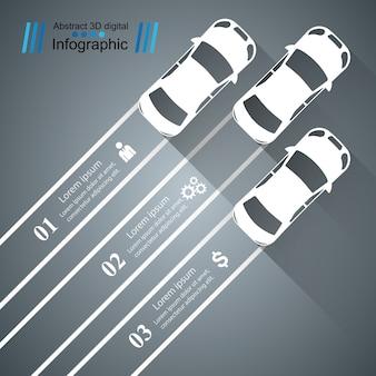Modelo de desenho infográfico de estrada e ícones de marketing. ícone do carro.