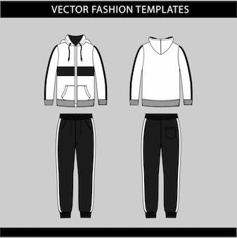 Modelo de desenho plano de moda de moletom com capuz e calça de moletom, roupa de jogging na frente e atrás, roupa de desgaste de esporte