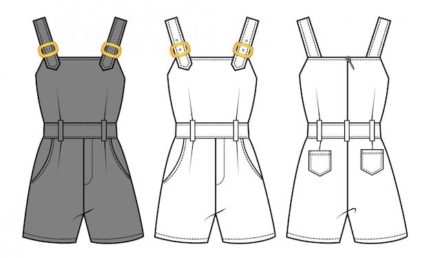 Modelo de desenho plano de moda macacão