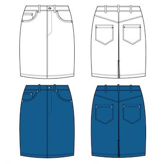 Modelo de desenho plano de moda mini saia jeans