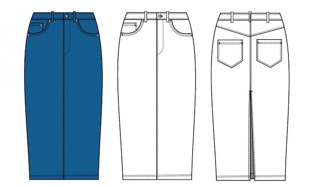 Modelo de desenho plano de moda saia jeans