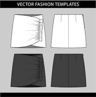 Modelo de desenho plano de moda saia