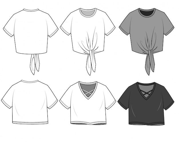 Modelo de desenho plano de moda tee crop