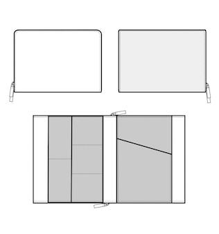 Modelo de desenho técnico plano de moda de saco de embreagem