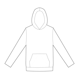Modelo de desenho técnico plano de moda hoody