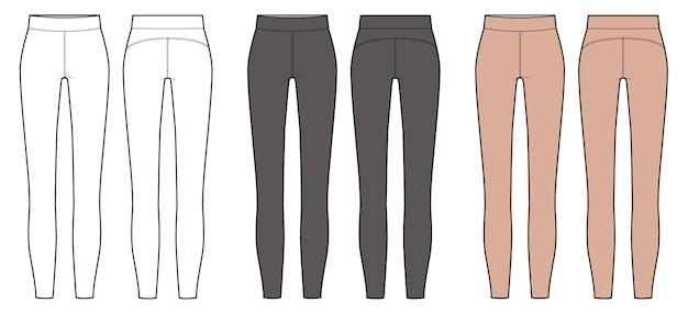 Modelo de desenho técnico plano de moda leggings