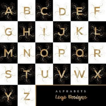 Modelo de desenhos de logotipo de alfabetos de ouro