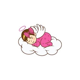 Modelo de desenhos de logotipo de bebê fofo dormindo