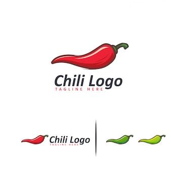 Modelo de desenhos de logotipo de pimentão