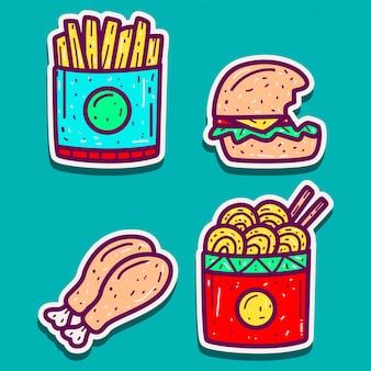 Modelo de desenhos dos desenhos animados de comida doodle